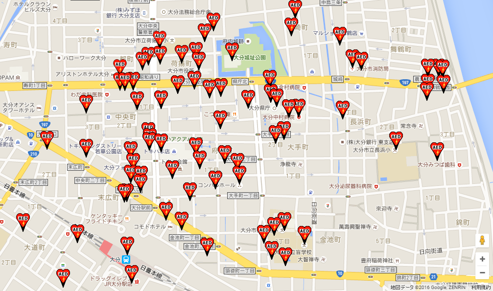 大分市中心部のAED設置状況(「日本全国AEDマップ」より)