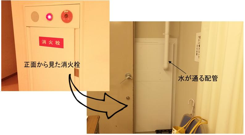 講演会の会場となった中津文化会館は、消火栓の裏側が見られる珍スポットでもある。