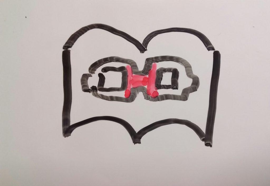 ムスメ商店のロゴマーク。トレードマークのメガネと、愛してやまない本がモチーフ。