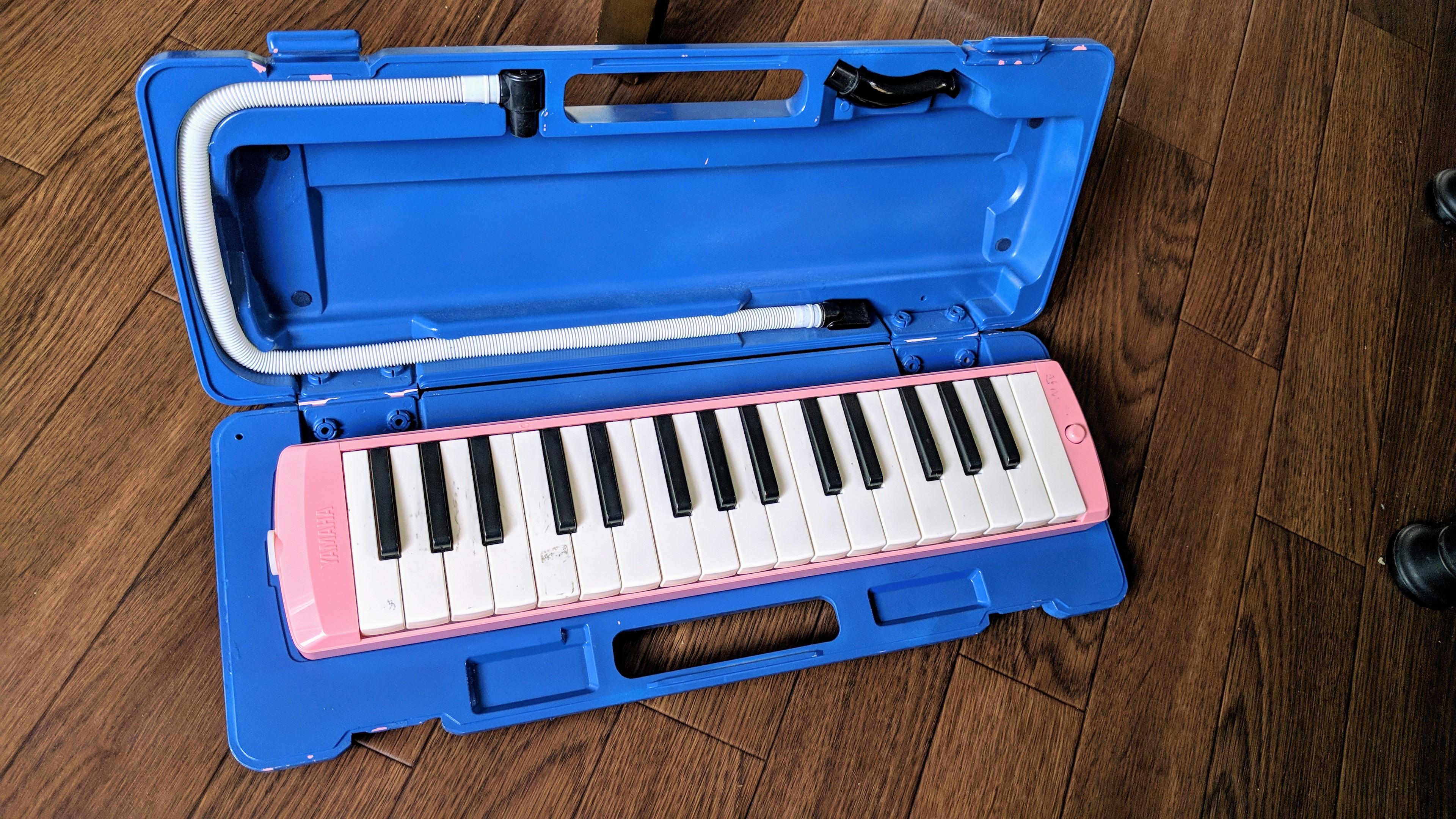 ピンクから青に塗装された鍵盤ハーモニカ